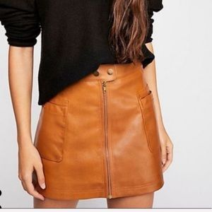 NWT Free People High A Vegan Leather Skirt